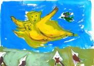 The bears fly over the birds